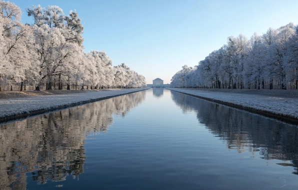 Picture Winter, Architecture, Munich, Symmetrie