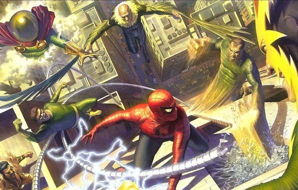 Picture comic, Marvel Comics, Spider-Man, Villains, Sinister six, Alex Ross