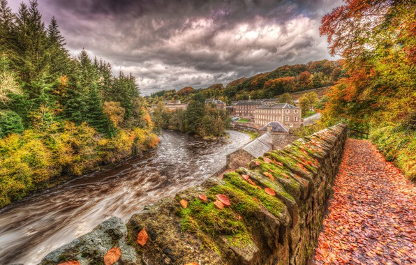 Picture autumn, forest, the sky, leaves, clouds, trees, river, for, moss, HDR, home, UK, Lanarkshire, New …