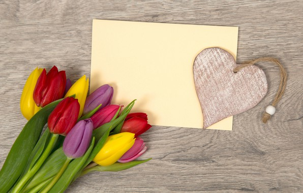 Picture flowers, heart, bouquet, colorful, tulips, love, heart, flowers, romantic, tulips, spring