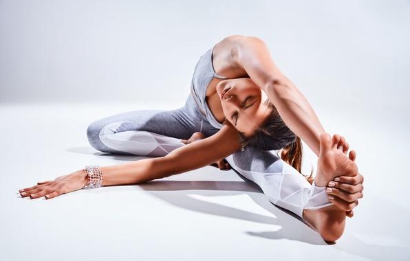 Picture brunette, pose, yoga, elongation