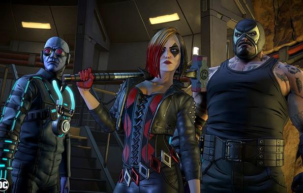 Picture The game, Glasses, Costume, Mask, Hammer, Hummer, Harley Quinn, Game, DC Comics, Bane, Bane, Mask, …