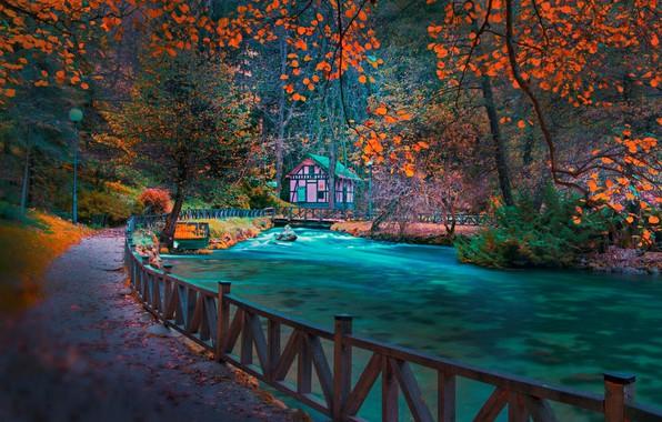 Picture track, river, Bosnia, autumn Park, Sarajevo