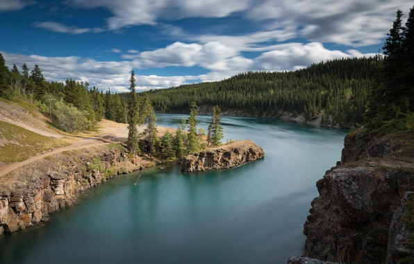 Picture forest, river, Canada, Canada, Yukon, Yukon, Yukon River, The Yukon River, Miles Canyon, Canyon Miles