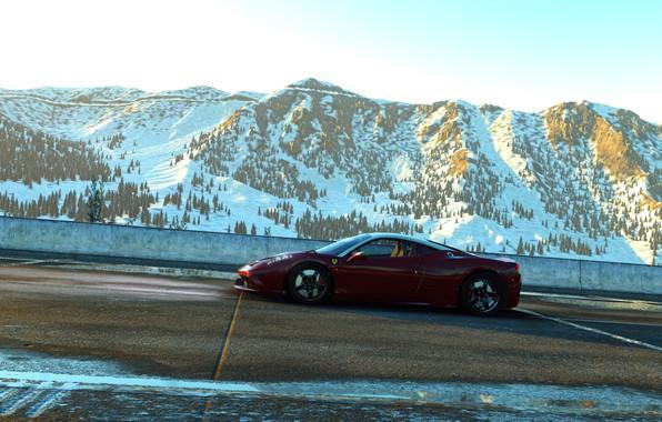 Picture car, red, game, ferrari, 458, neve, rodovia