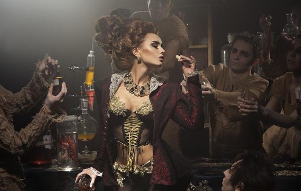 Picture dress, woman, men, chemistry, cork, flask, Victorian style