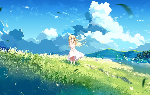 Picture summer, nature, anime, art, girl