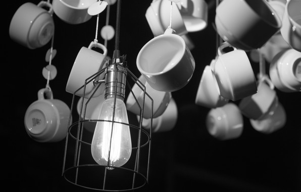 Picture white, black, cafe, lamp