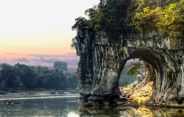 Picture China, rock, sky, trees, landscape, nature, water, clouds, lake, tunnel, boat, fisherman, vegetation, arch