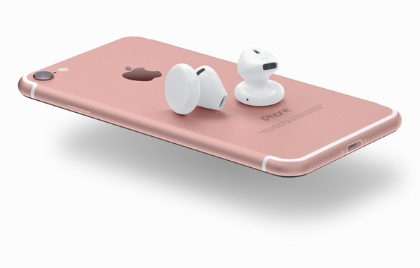 Picture iPhone, logo, pink, smartphone, headset, technology, cell phone, high tech, smartphones, iPhone 7, headset wireless, …