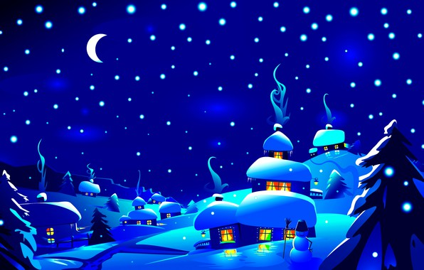 Picture winter, forest, the sky, snow, trees, snowflakes, night, lights, blue, the moon, home, vector, a …