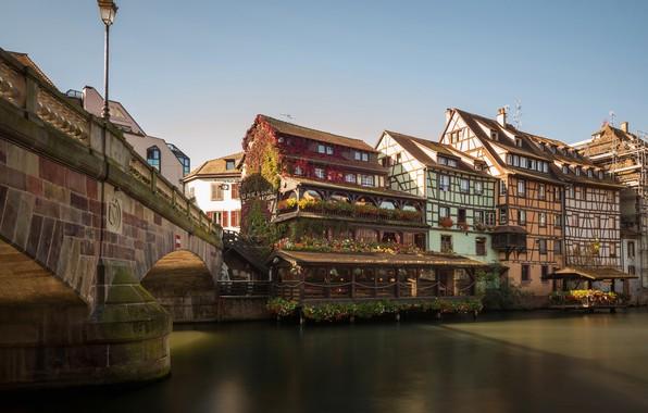 Picture bridge, river, France, building, home, Strasbourg, France, Strasbourg, Alsace, Alsace, River Ill, The Petite France …