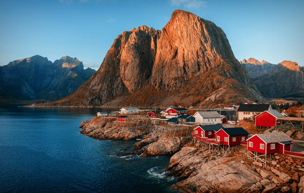 Picture the sky, mountains, rocks, Norway, settlement, the fjord