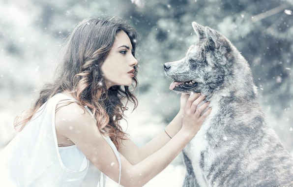 Picture girl, snow, mood, dog, friendship, friends, Alessandro Di Cicco, Arianna Storace