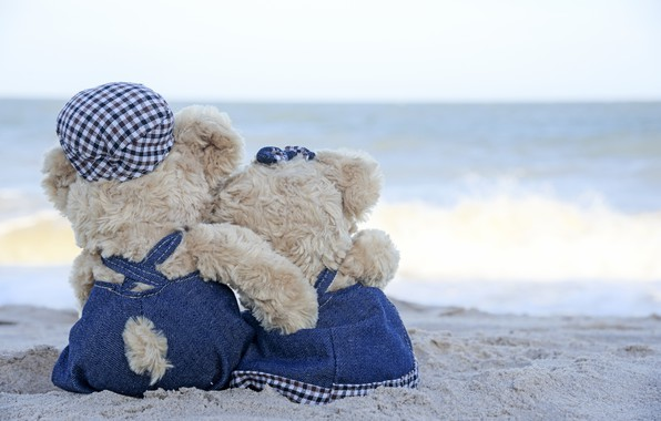 Picture sand, sea, beach, love, toy, bear, pair, love, two, beach, bear, sea, romantic, sand, teddy