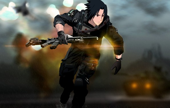 Picture gun, game, Naruto, weapon, anime, crossover, sharingan, ninja, asian, rifle, manga, Uchiha Sasuke, tank, shinobi, …