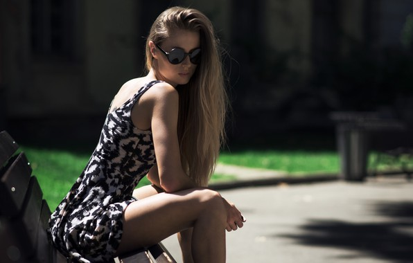 Picture Girl, long hair, dress, legs, photo, brown, model, lips, face, bench, sitting, sunglasses, portrait, mouth, …
