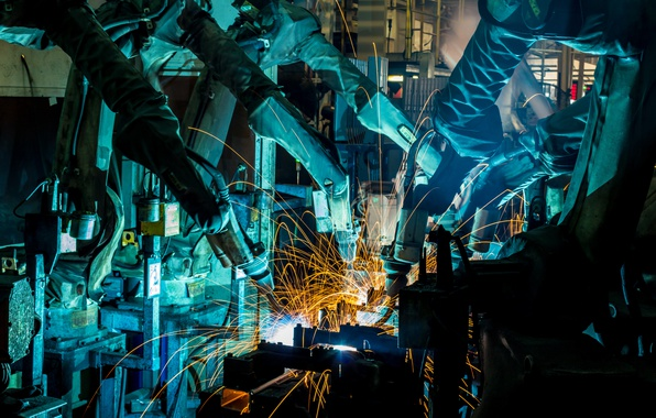 Wallpaper Sparks Industry Welders Robotics Images For Desktop