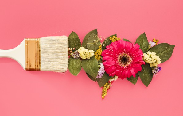 Picture greens, Flowers, brush, chrysanthemum
