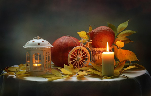 Picture autumn, leaves, candle, flashlight, pumpkin, still life