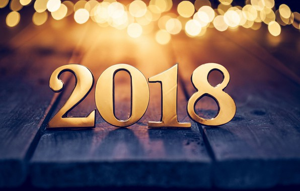 Picture new year, figures, gold, bokeh, 2018