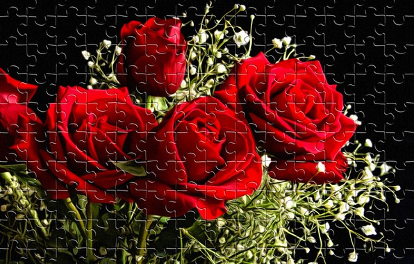 Picture flowers, rendering, the game, black background, entertainment, red roses, holiday puzzle