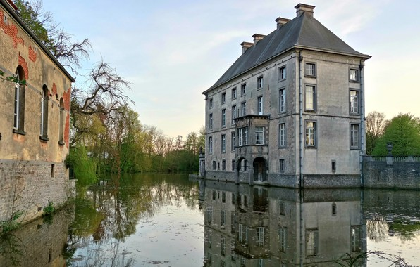 Picture Landscape, Style, Europe, Belgium, Castle, Romantic, Lake, Pond, Europa, Medieval, French, Architecture, Middle Age, Canal, …