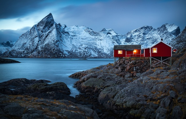 Picture winter, mountains, nature, rocks, Norway, houses, the village, the fjord