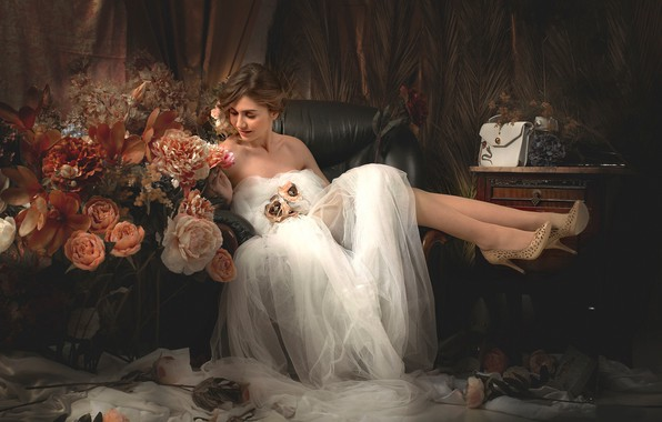 Picture girl, flowers, style, mood, feet, shoes, the bride, wedding dress