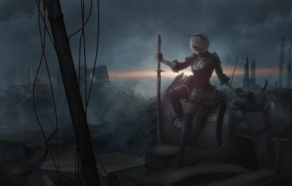 Picture girl, smoke, sword, destruction, cosplay, NieR: Automata, YoRHa No. 2 type B