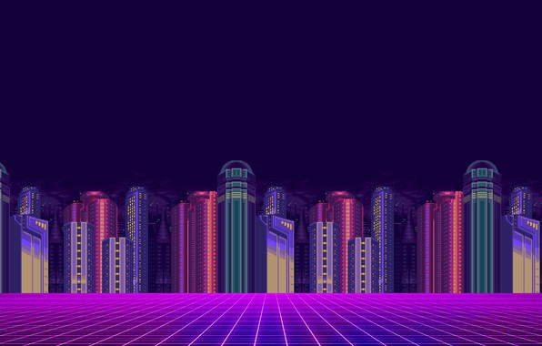 Picture Minimalism, The city, Background, Pixels, 8bit, Electronic, 8bit, 8 bit, bit, Synth, Retrowave, Sinti, Synthwave, ...