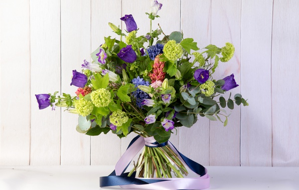 Picture flowers, bouquet, tape, bells