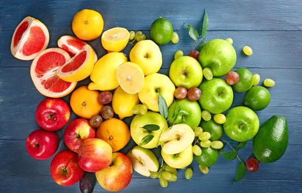 Picture apples, grapes, red, fruit, lemons, green, avocado, drain, grapefruit