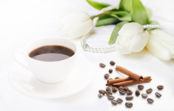 Picture coffee, bouquet, tulips, beads, white