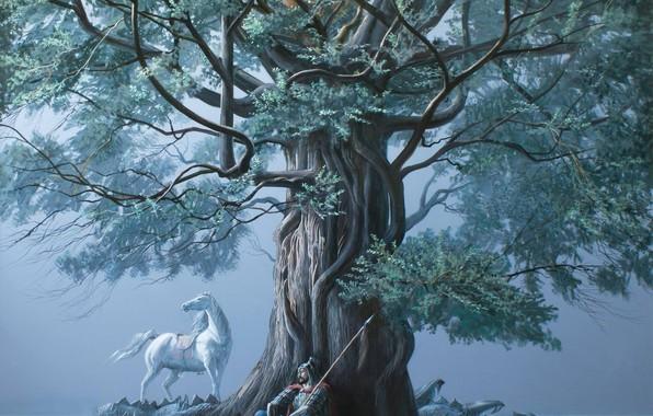 Picture tree, dragon, warrior, spear, white horse, Baiterek, tired, Aibek Begalin, Two thousand twelve