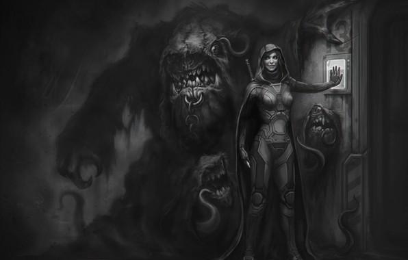 Picture smile, sword, the door, monster, cloak, art, guard, the gatekeeper