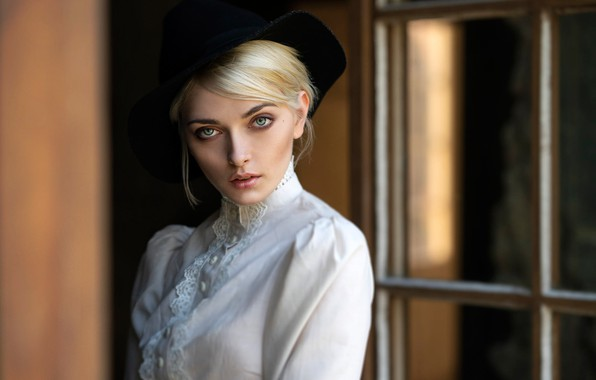 Picture look, model, portrait, hat, makeup, hairstyle, blonde, beauty, in white, bokeh, Karina, Hans Jörg Leth