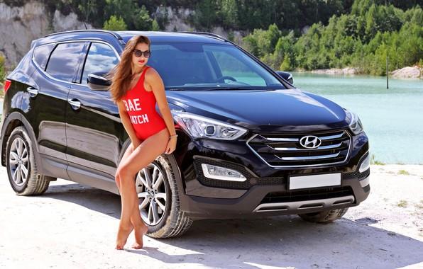 Picture swimsuit, summer, girl, SUV, Hyundai, sand.