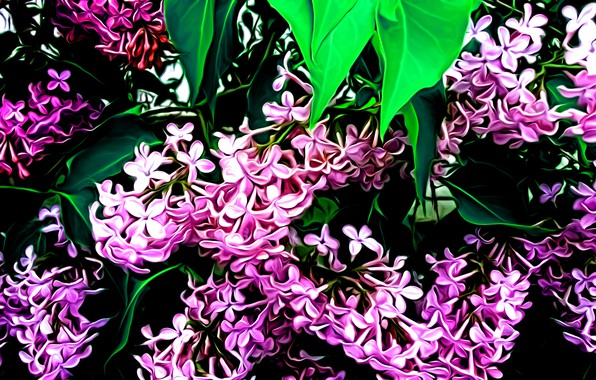 Picture leaves, flowers, rendering, figure, petals, lilac