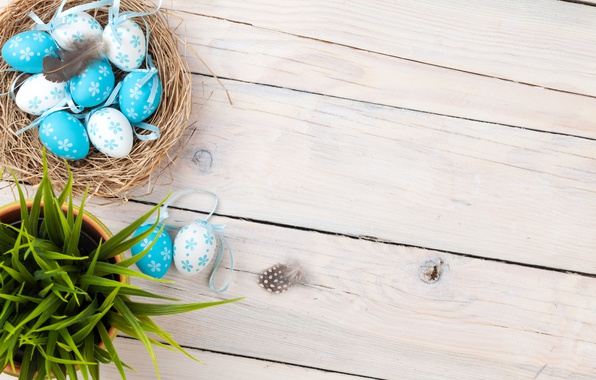 Picture grass, spring, Easter, basket, wood, spring, Easter, eggs, decoration, Happy, the painted eggs