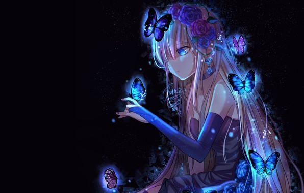 Picture girl, butterfly, darkness, anime, art