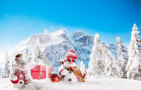 Picture New Year, Christmas, snowmen, winter, snow, merry christmas, snowman
