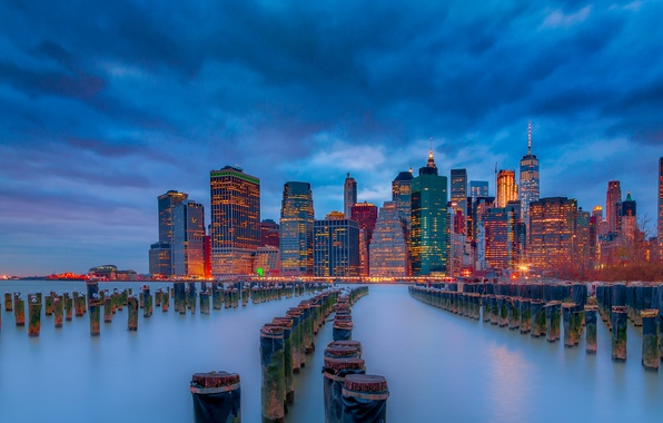 Picture river, building, New York, night city, Manhattan, skyscrapers, Manhattan, New York City, East River, East …