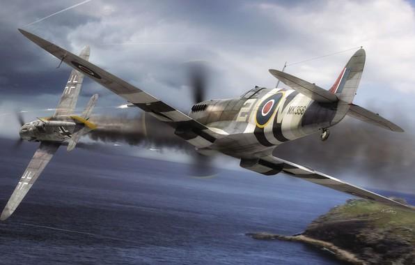 Picture Messerschmitt, Air force, WW2, Royal Air Force, Painting, Dogfight, Spitfire F.Mk.IX, Bf.109G-6