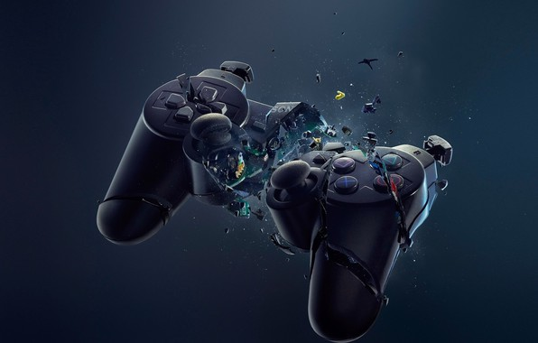 Picture Sony, Playstation, controller, crash, dualshock, joystick