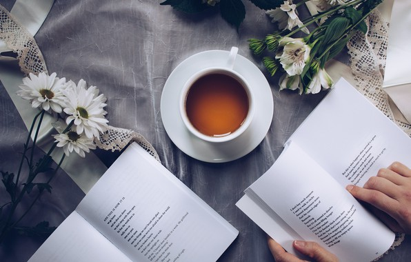 Picture flowers, book, reading, Tea