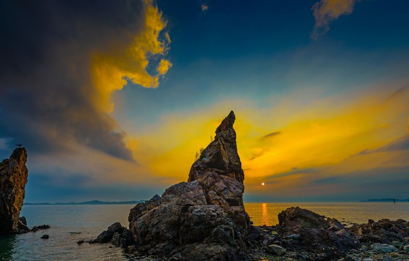 Picture sunset, rocks, the evening