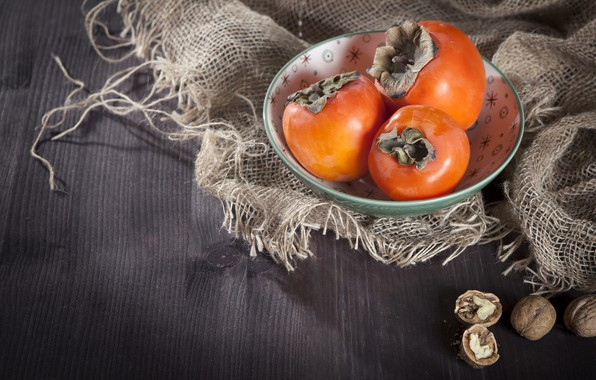 Picture background, nuts, bag, persimmon