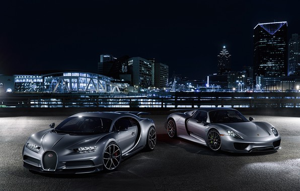 Photo wallpaper Porsche, Bugatti, City, Spyder, 918, Lights, Silver, VAG, Chiron