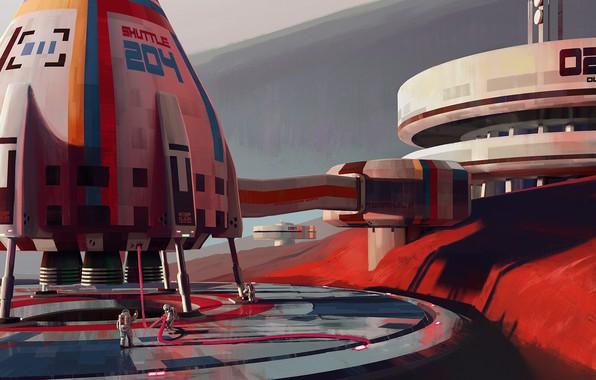 Picture fantasy, science fiction, sci-fi, digital art, artwork, Mars, fantasy art, Spaceship, pearls, structure, astronauts, space …